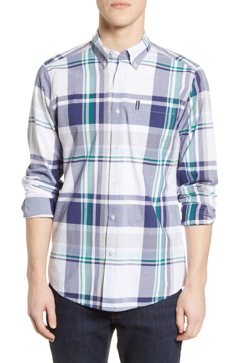 BARBOUR Madras 7 Tailored Fit Button-Down Shirt, Main, color, 100