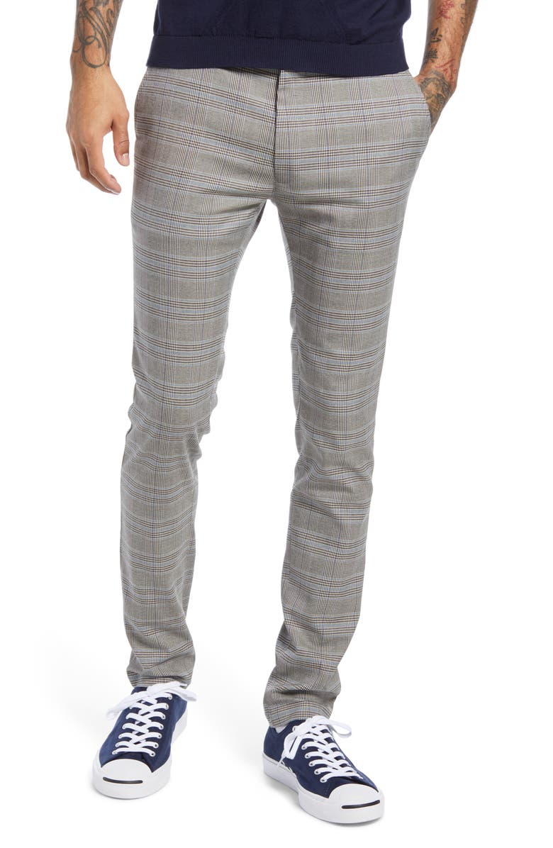 TOPMAN Check Trousers, Main, color, GREY