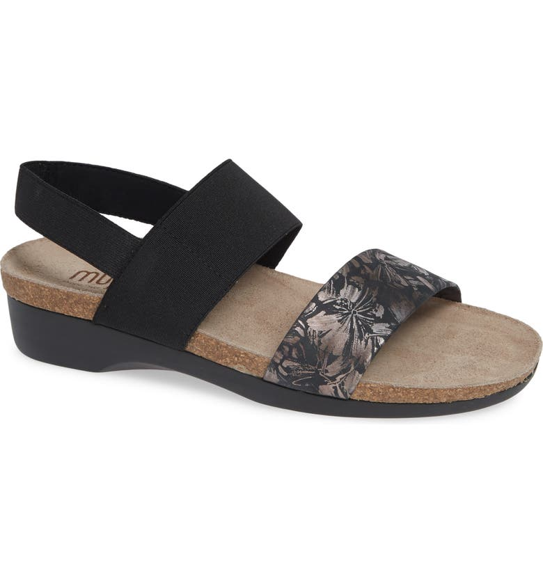 MUNRO 'Pisces' Sandal, Main, color, DARK FLORAL PRINT LEATHER
