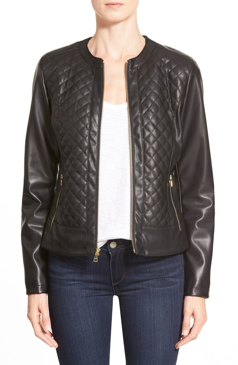 COLE HAAN SIGNATURE Collarless Quilted FauxLeather Jacket, Main, color, 001