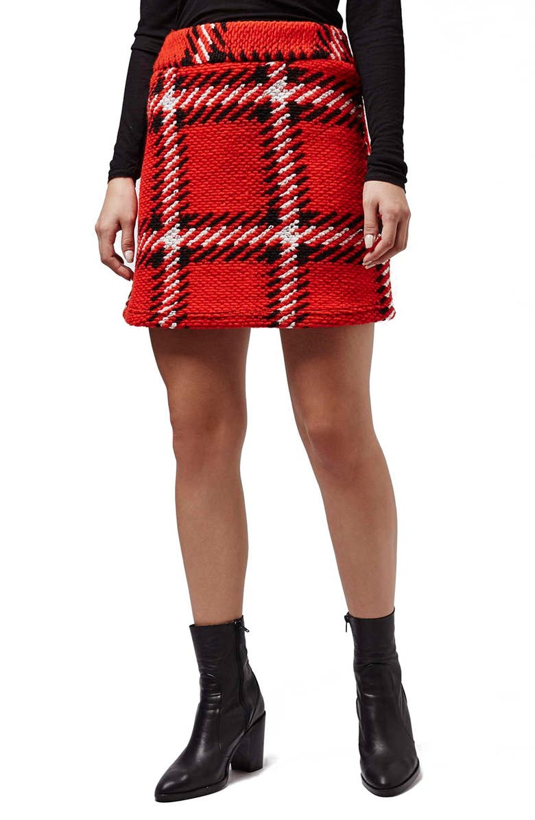 TOPSHOP Check High Rise Skirt, Main, color, RED