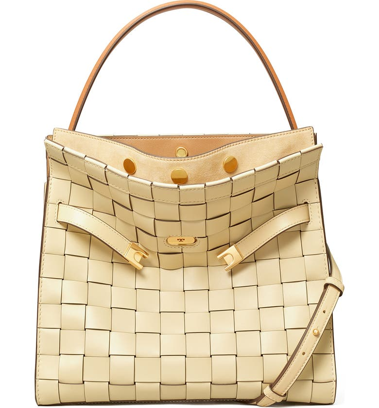 TORY BURCH Lee Radziwill Woven Leather Double Bag, Main, color, BUTTERMILK