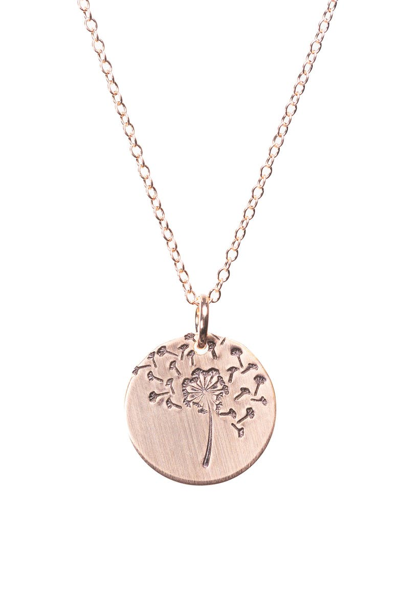 NASHELLE Wish Classic Coin Necklace, Main, color, ROSE GOLD