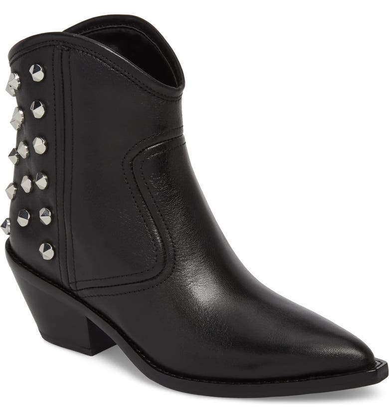 MARC FISHER LTD Marc Fisher Baily Studded Western Bootie, Main, color, 001