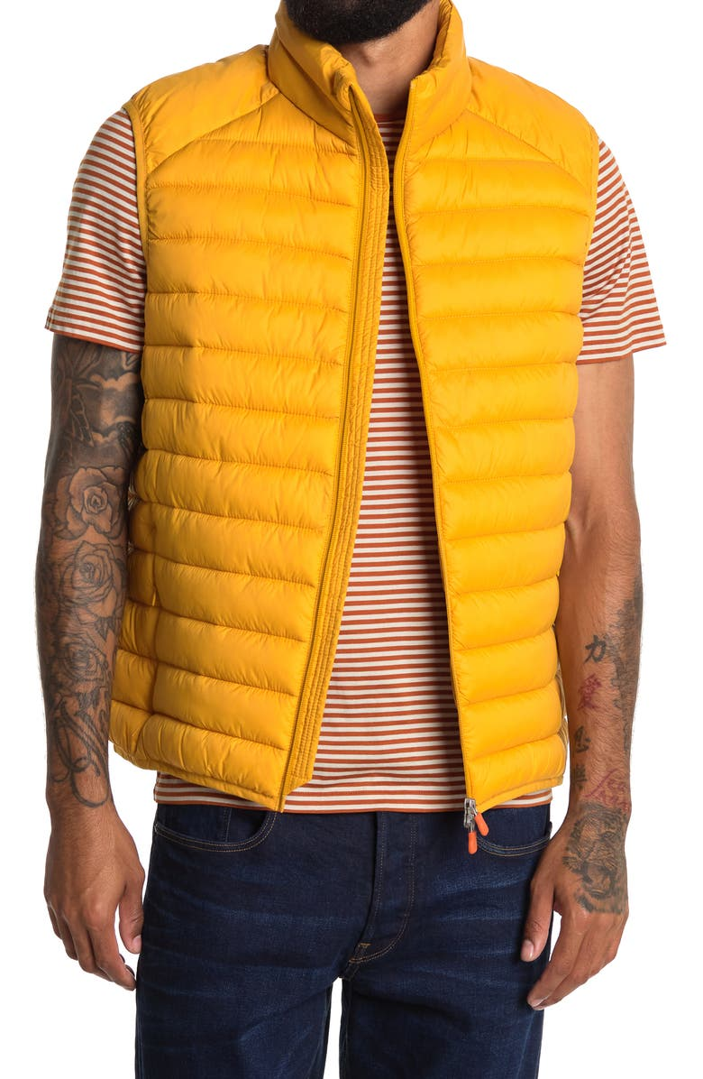 SAVE THE DUCK Water & Wind Resistant Puffer Vest, Main, color, MUSTARD YELLOW