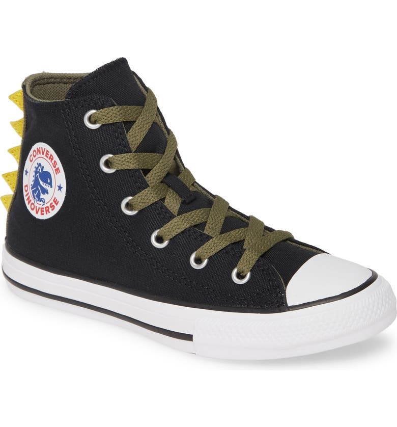 CONVERSE Chuck Taylor<sup>®</sup> All Star<sup>®</sup> Dinoverse High Top Sneaker, Main, color, 001