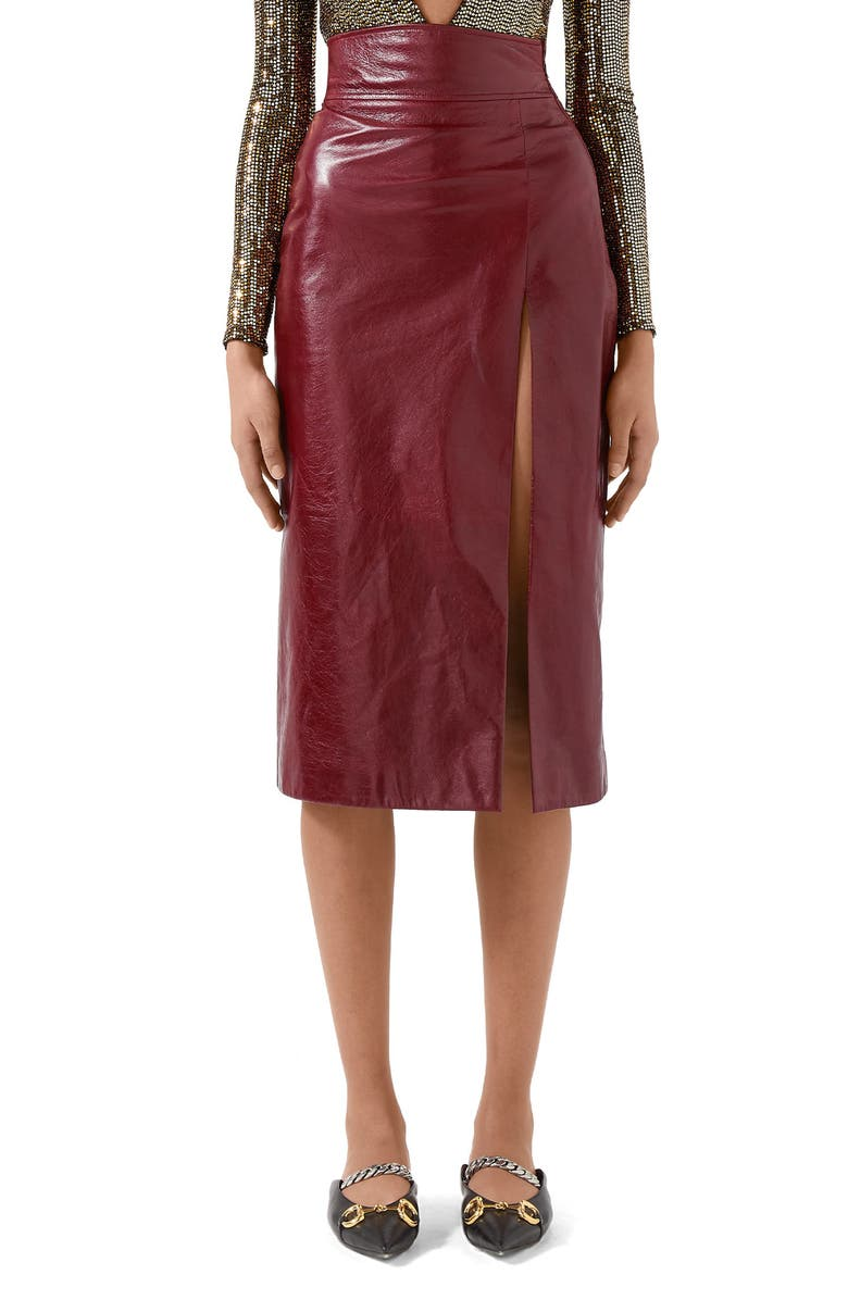 GUCCI Front Slit Lambskin Leather Pencil Skirt, Main, color, 617