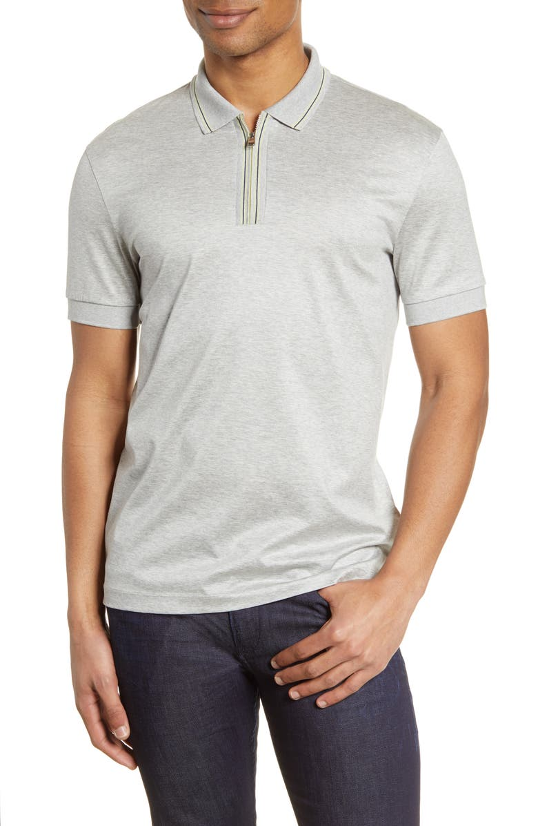 BOSS Paras Heathered Cotton Polo Shirt, Main, color, GREY