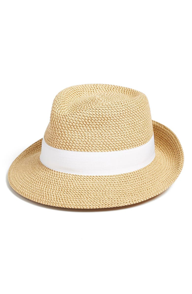ERIC JAVITS Classic Squishee<sup>®</sup> Packable Fedora Sun Hat, Main, color, PEANUT/ WHITE