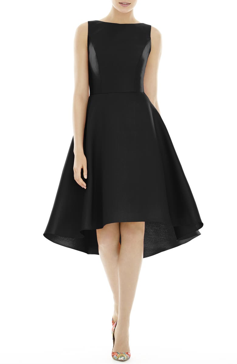 ALFRED SUNG High/Low Cocktail Dress, Main, color, BLACK