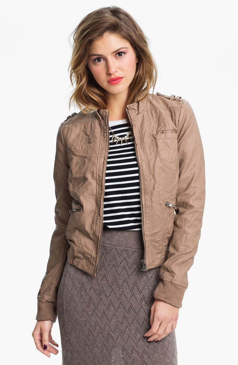 COLLECTION B Faux Leather Moto Jacket, Main, color, DESERT SAND