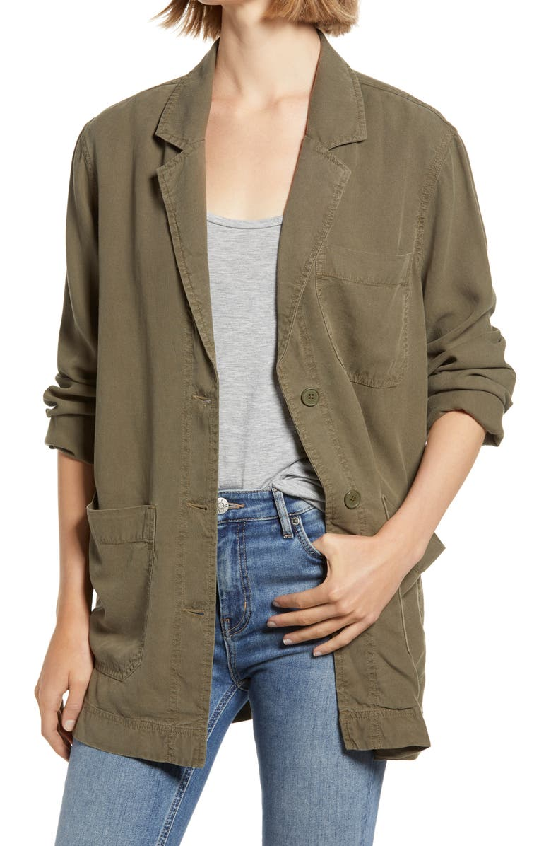 TREASURE & BOND Drapey Canvas Jacket, Main, color, OLIVE SARMA