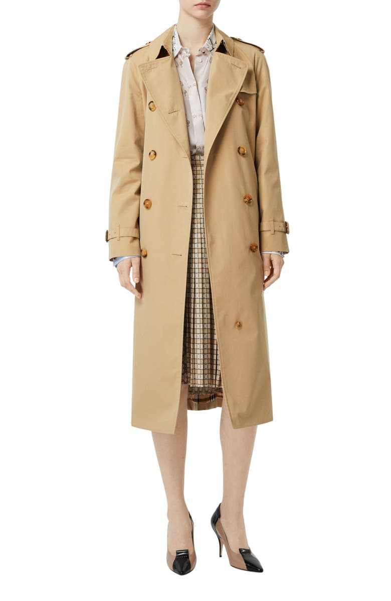 BURBERRY The Waterloo Heritage Trench Coat, Main, color, HONEY