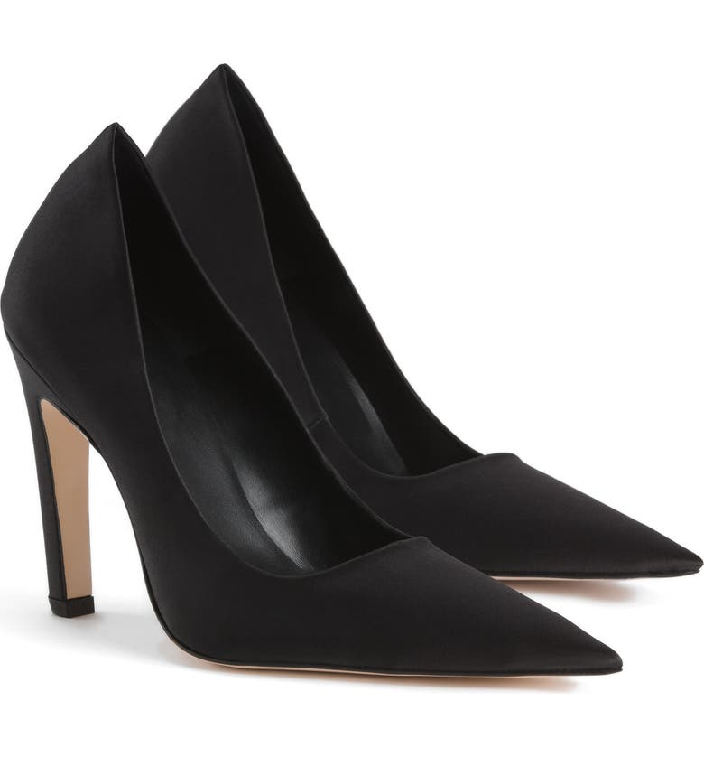 GOOD AMERICAN The Icon Pointed Toe Pump, Main, color, BLACK SATIN