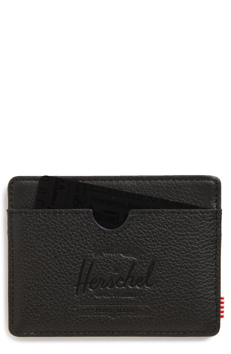 HERSCHEL SUPPLY CO. Charlie Leather Card Case, Main, color, BLACK LEATHER