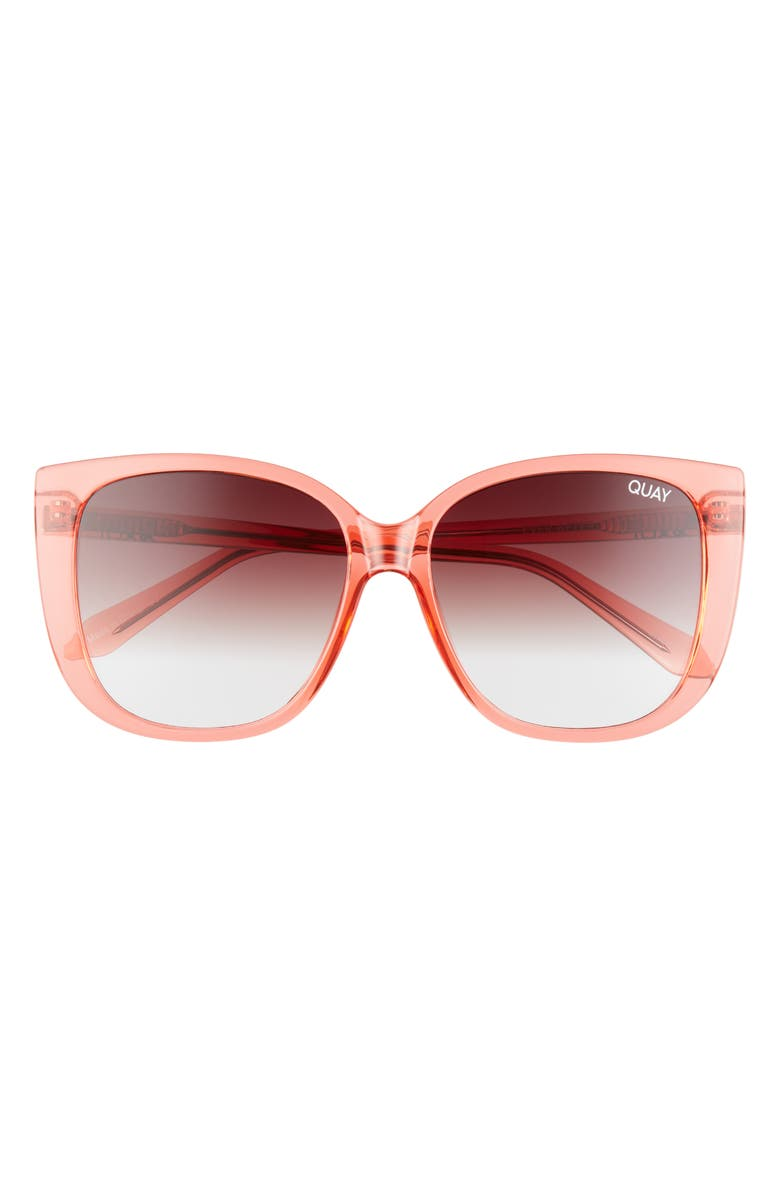 QUAY AUSTRALIA Ever After 59mm Square Sunglasses, Main, color, CRYSTAL CORAL / BROWN FADE
