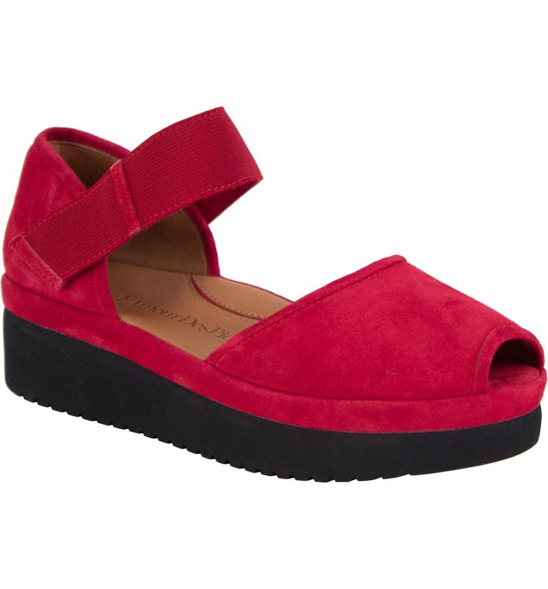 L'AMOUR DES PIEDS Amadour Platform Sandal, Main, color, RED SUEDE/ BLACK