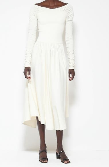 Ren Ruched Off the Shoulder Jersey Midi Dress, video thumbnail
