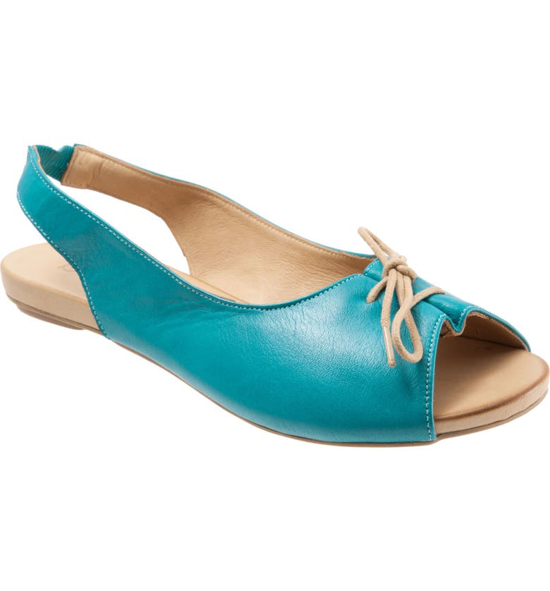 BUENO Keely Slingback Tie Sandal, Main, color, TURQUOISE LEATHER