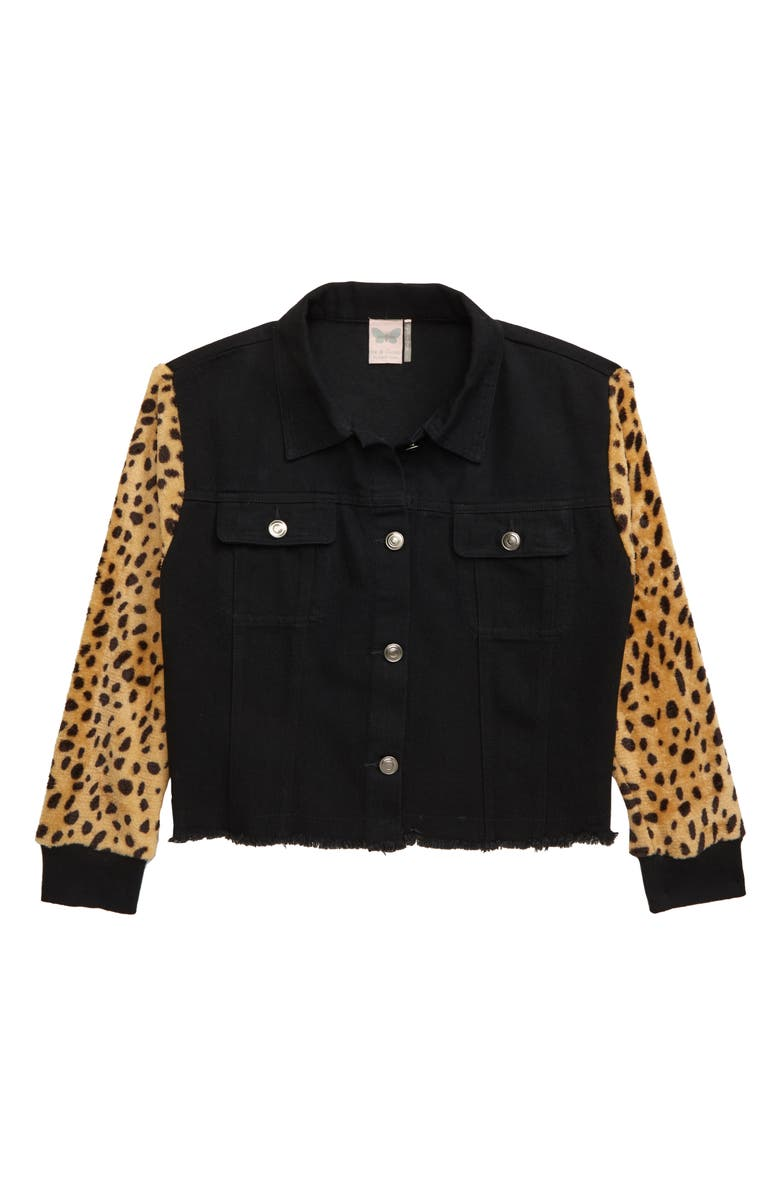 FOR ALL SEASONS Frayed Leopard Sleeve Denim Jacket, Main, color, 001