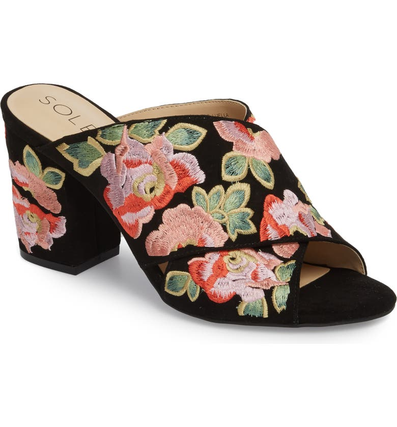SOLE SOCIETY Luella Flower Embroidered Slide, Main, color, BLACK/ CORAL MULTI EMBROIDERY