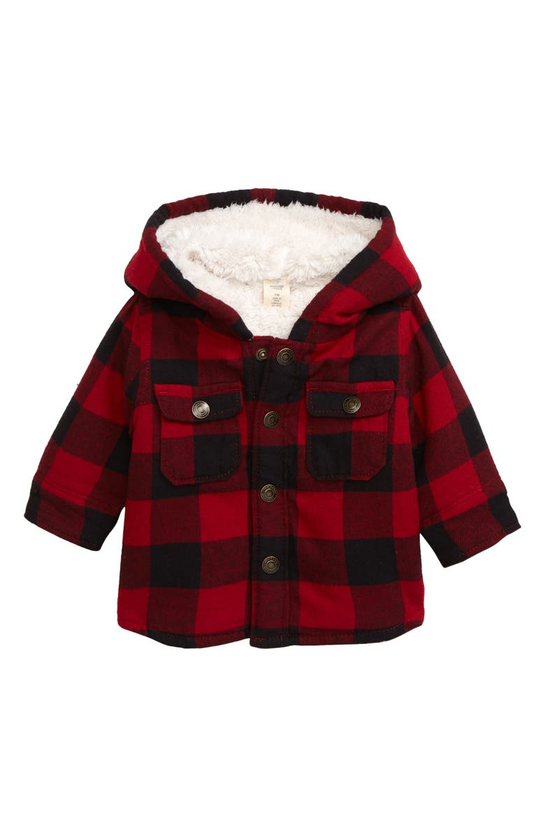 TUCKER + TATE Cozy Faux Fur Lined Shirt Jacket, Main, color, 601