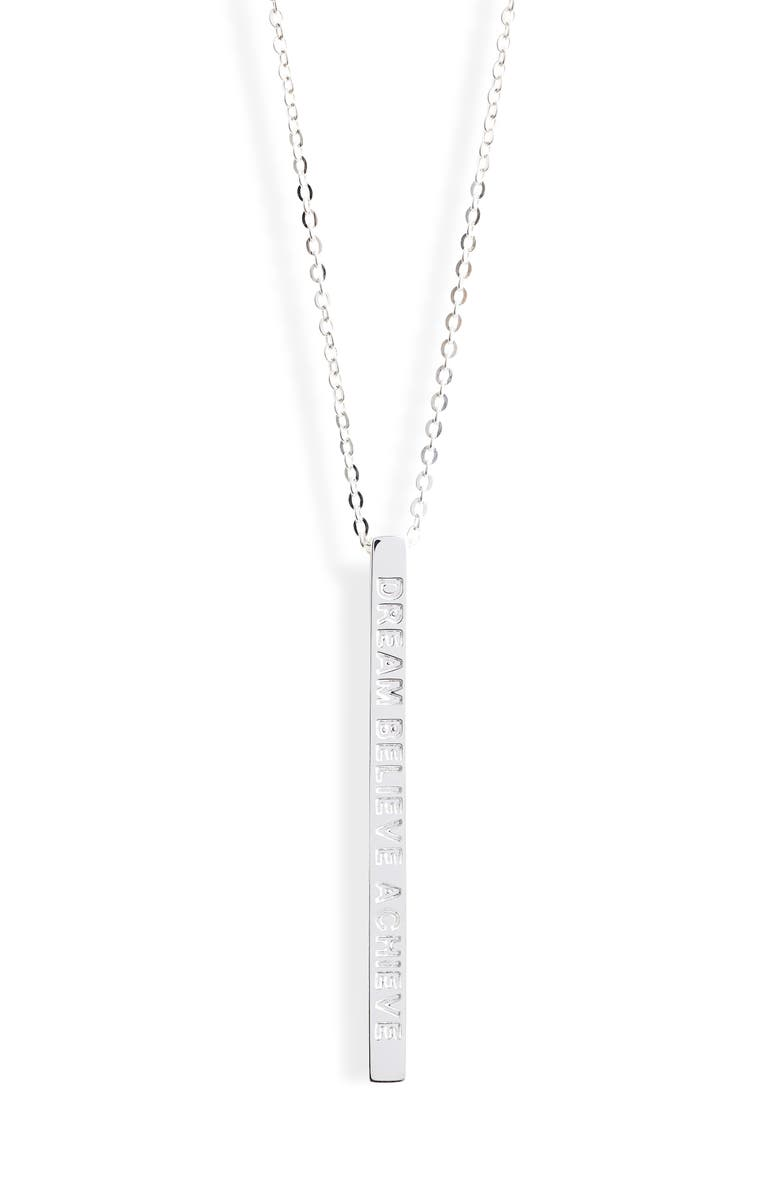MANTRABAND<SUP>®</SUP> Dream Believe Achieve Pendant Necklace, Main, color, 040