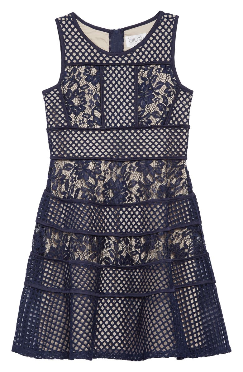 BLUSH BY US ANGELS Lace & Mesh Tiered Dress, Main, color, NAVY