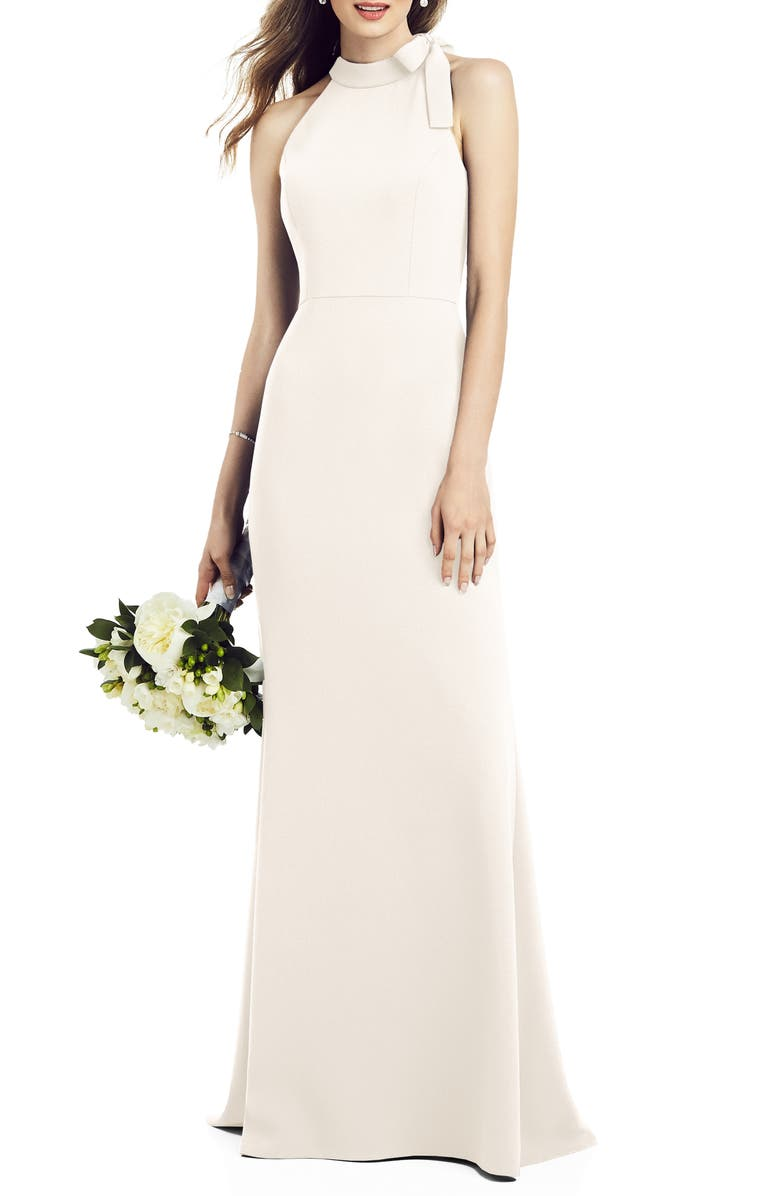 AFTER SIX Bow Neck Crepe Gown, Main, color, IVORY