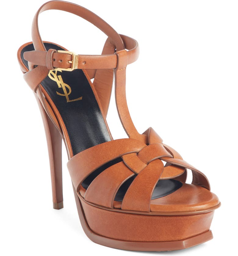 SAINT LAURENT Tribute T-Strap Platform Sandal, Main, color, AMBRA