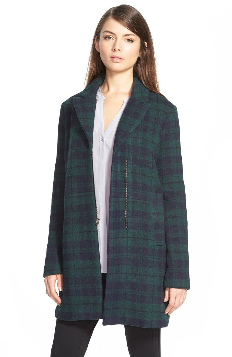 CUPCAKES AND CASHMERE 'Cardiff' Plaid Coat, Main, color, 410