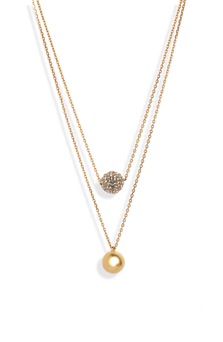 KATE SPADE NEW YORK razzle dazzle double strand necklace, Main, color, CLEAR/ GOLD