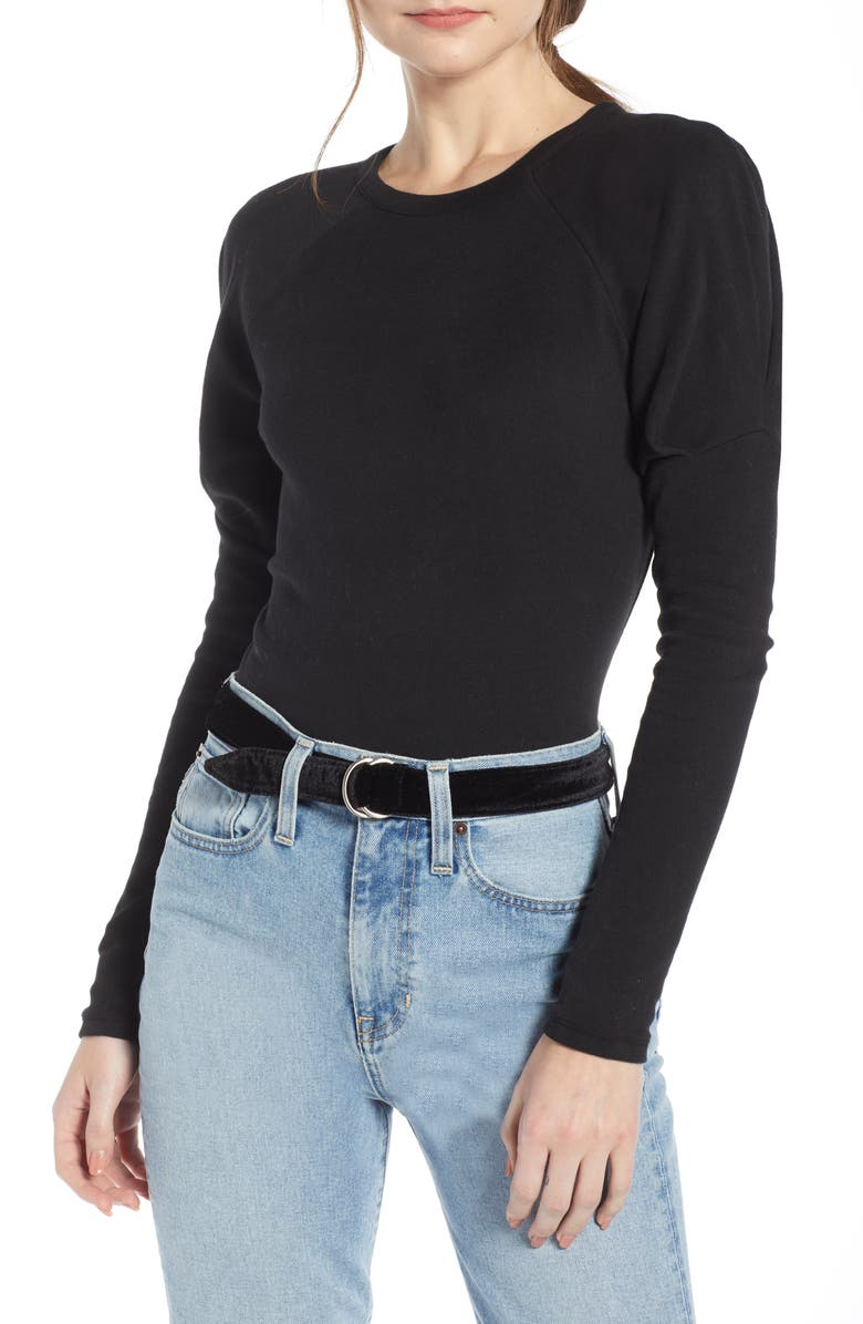 SOMETHING NAVY Puff Sleeve Stretch Cotton Tee, Main, color, 001