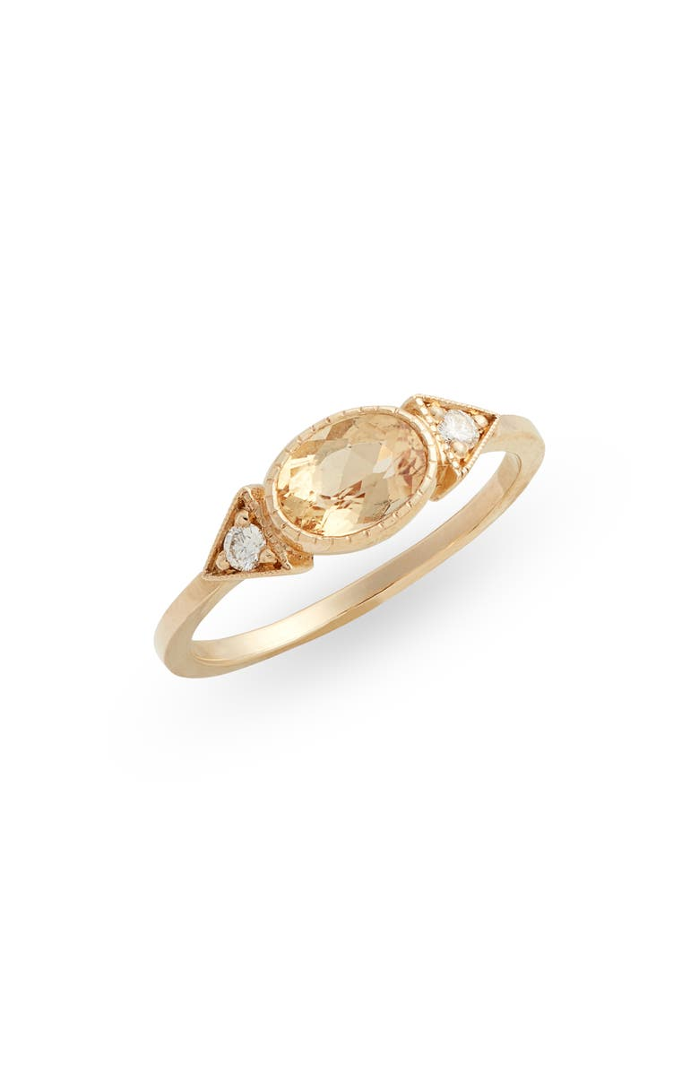 JENNIE KWON DESIGNS Topaz Long Spear Ring, Main, color, YELLOW GOLD/ TOPAZ