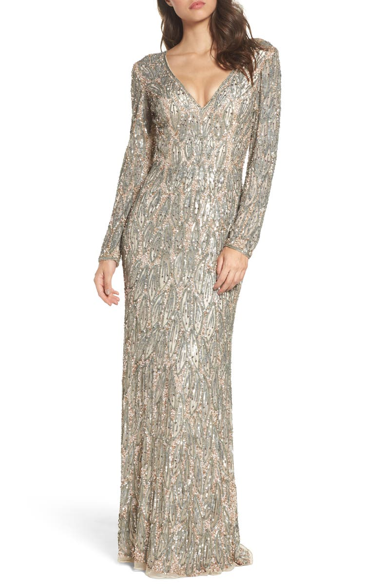 MAC DUGGAL Beaded Long Sleeve Gown, Main, color, VINTAGE TAUPE