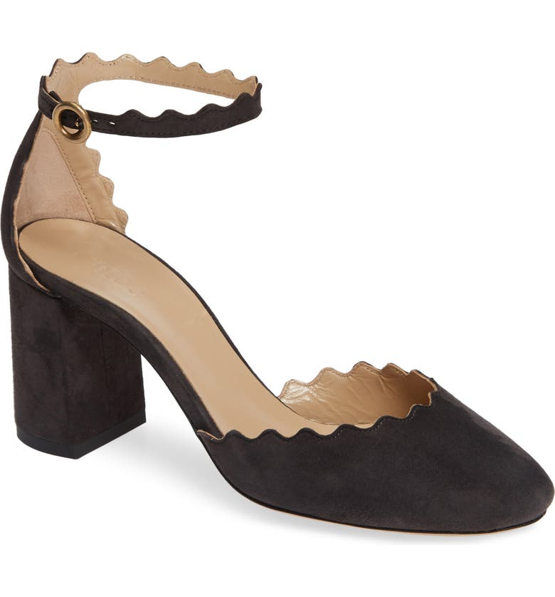 CHLOÉ Scalloped Ankle Strap d'Orsay Pump, Main, color, 010