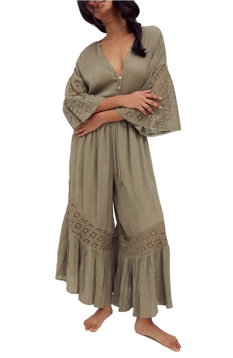 FREE PEOPLE Angela Front Button Jumpsuit, Main, color, WILLOW