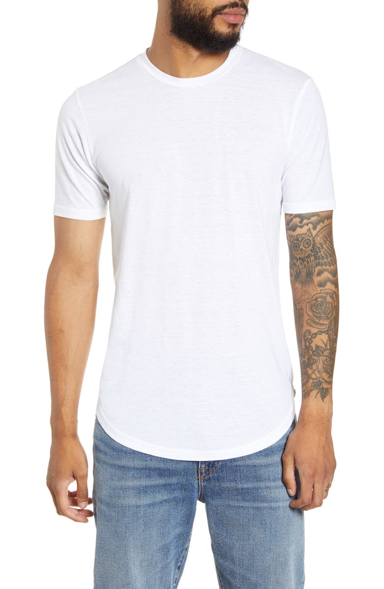 GOODLIFE Triblend Scallop Crewneck T-Shirt, Main, color, WHITE