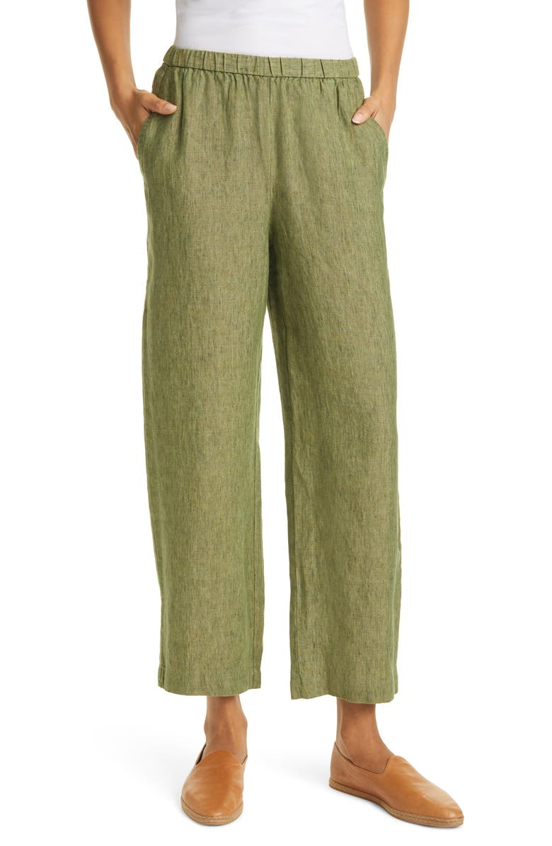 EILEEN FISHER Organic Linen Straight Leg Ankle Pants, Main, color, 300