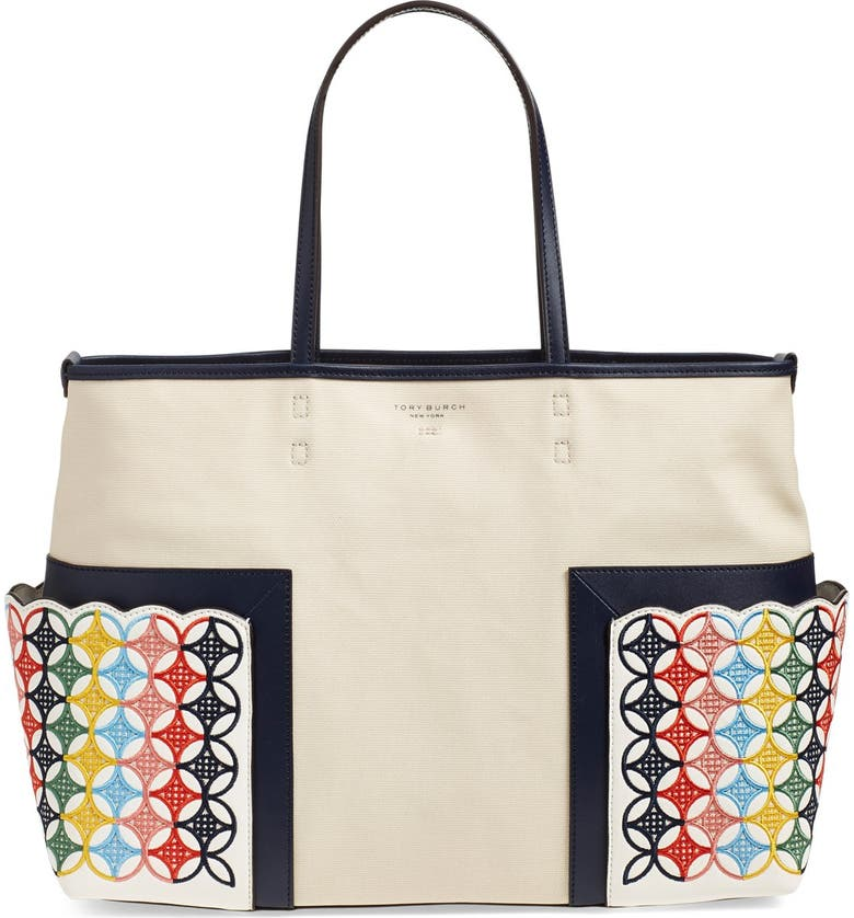 TORY BURCH 'Block-T' Embroidered Canvas Tote, Main, color, NATURAL