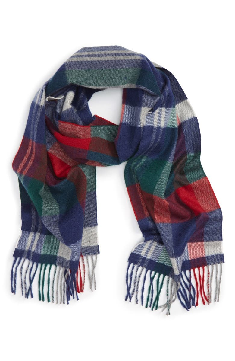 NORDSTROM Plaid Cashmere Scarf, Main, color, GREY COMBO