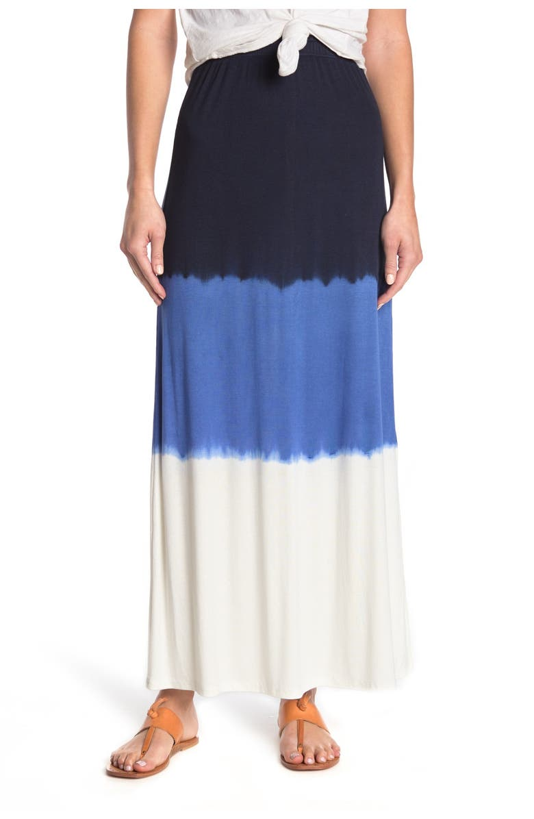 GO COUTURE Side Slit Ruffled Maxi Skirt, Main, color, WHITE TIE DYE