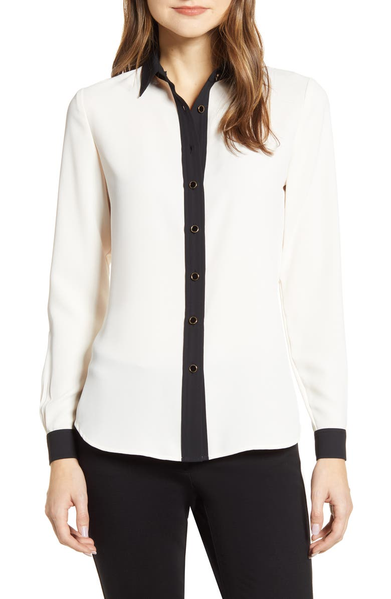 ANNE KLEIN Contrast Detail Button-Up Blouse, Main, color, ANNE WHITE/ ANNE BLACK