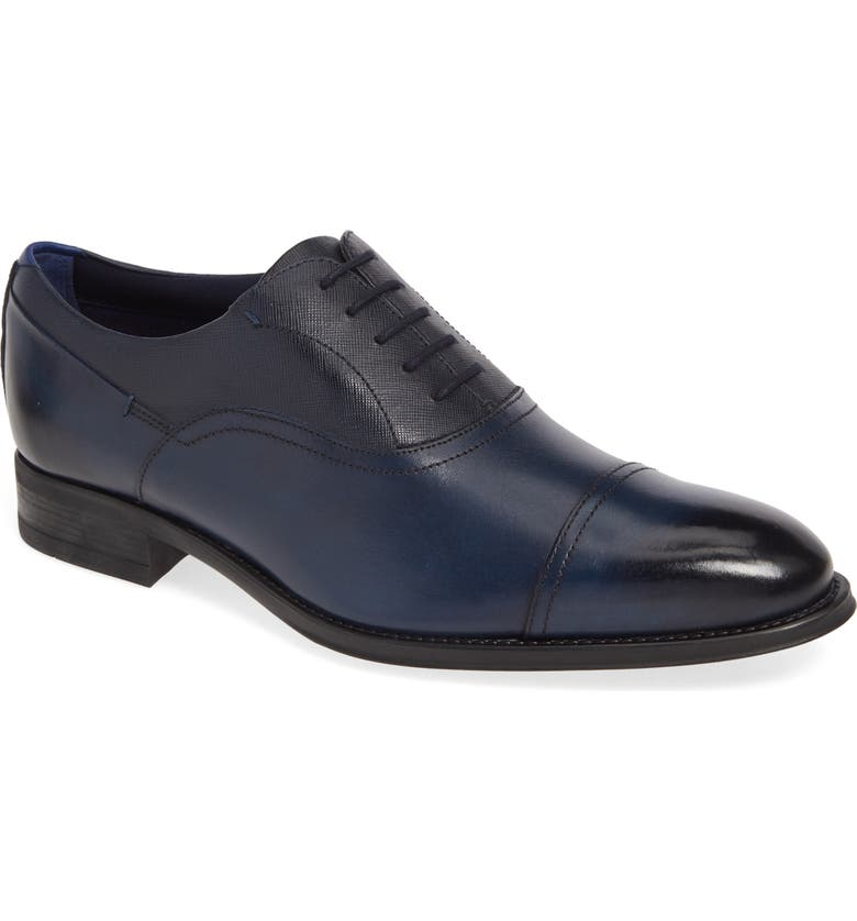 TED BAKER LONDON Sibits Leather Cap Toe Oxford, Main, color, DARK BLUE