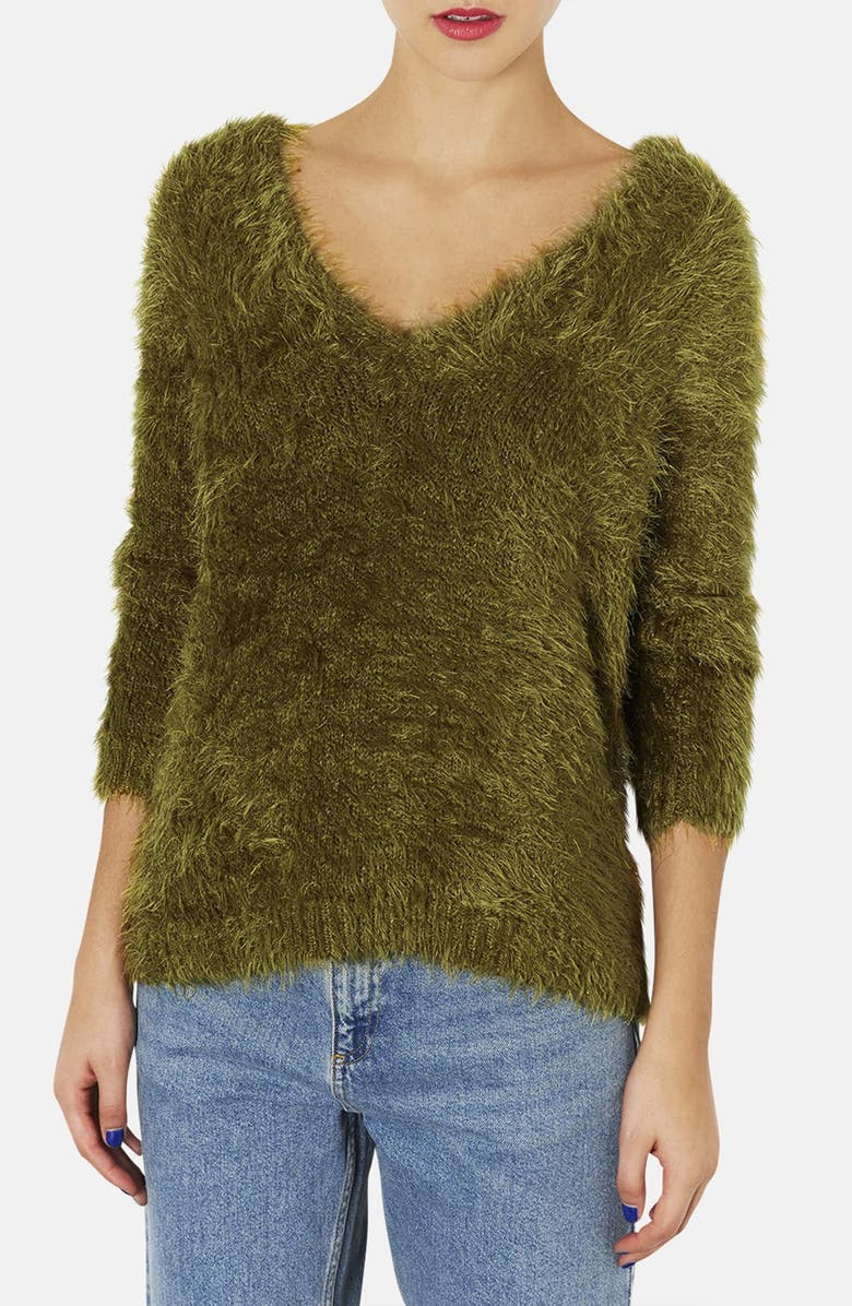 TOPSHOP Textured V-Neck Sweater, Main, color, 310