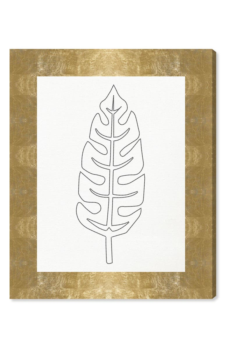 OLIVER GAL Stitched Palm Leaf II Canvas Wall Art, Main, color, WHITE