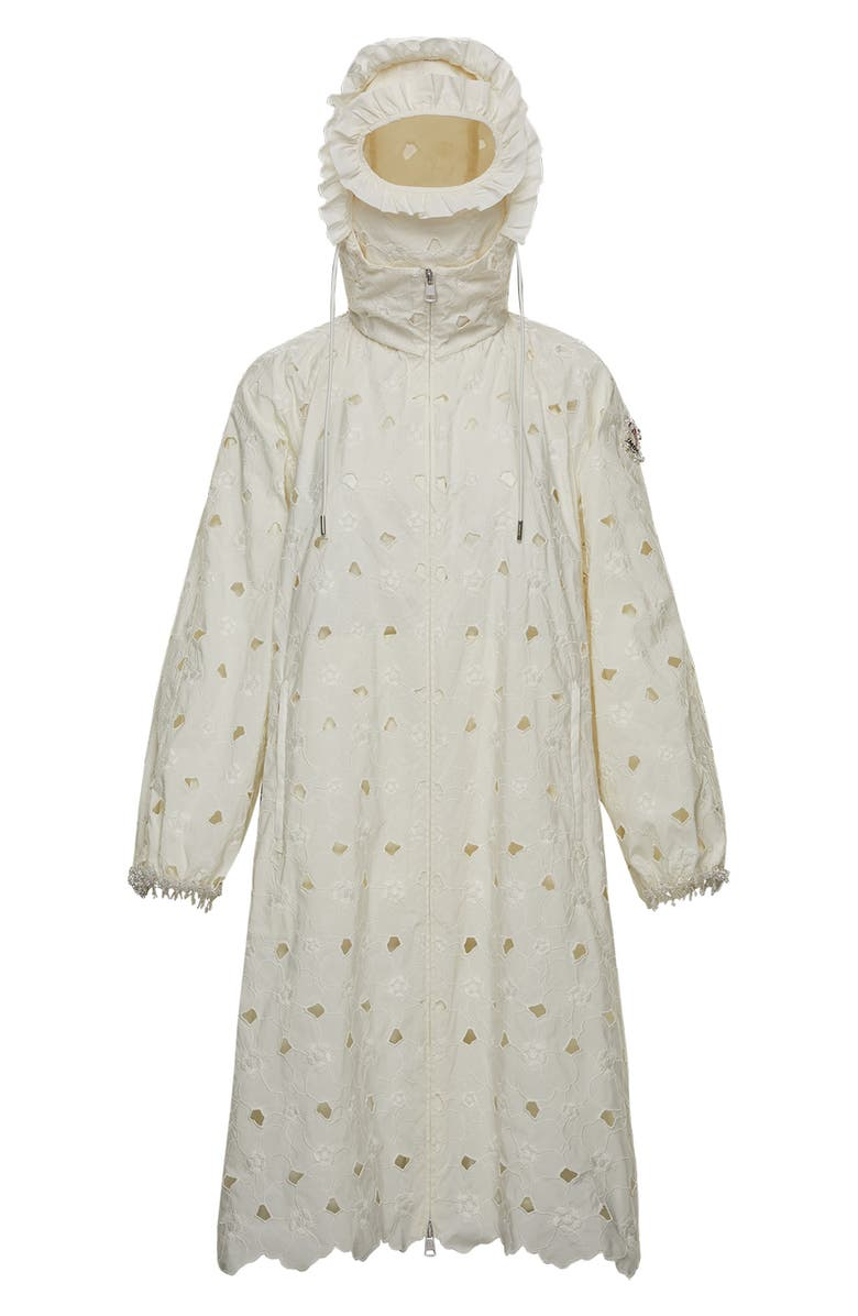 MONCLER GENIUS x 4 Simone Rocha Eyelet Embroidered Hooded Jacket, Main, color, 100
