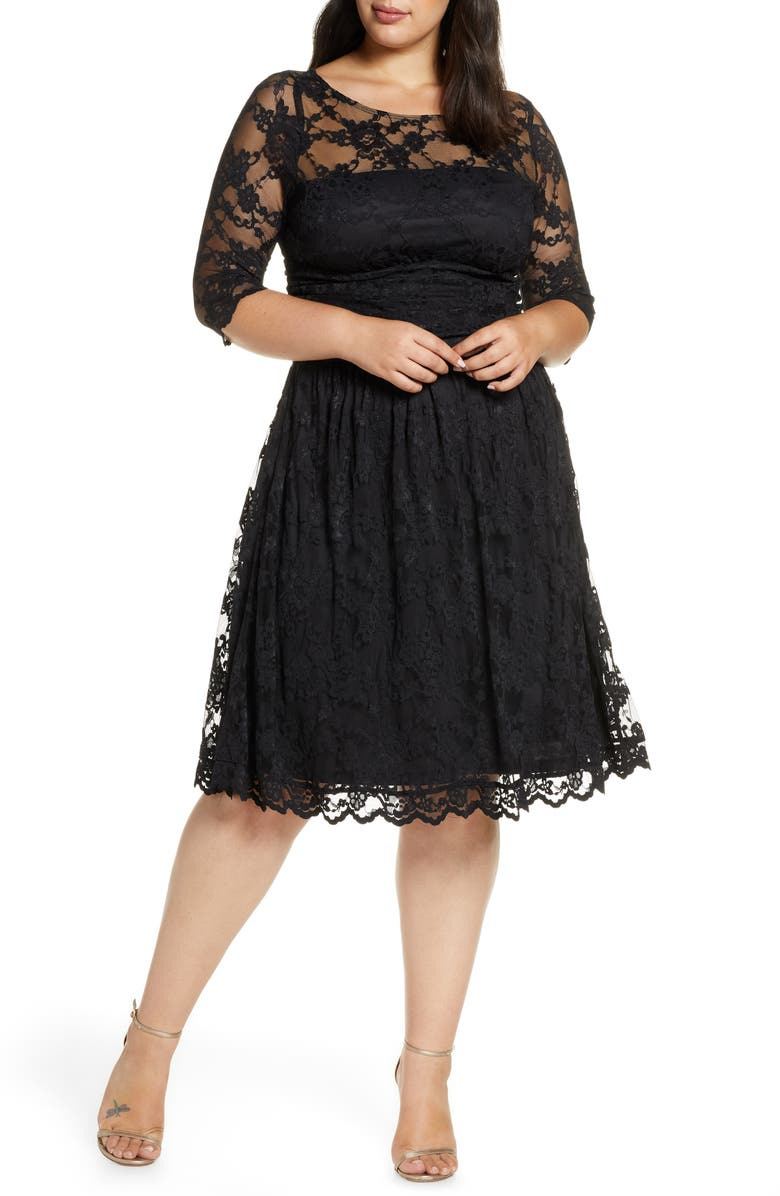 KIYONNA Luna Lace A-Line Dress, Main, color, ONYX