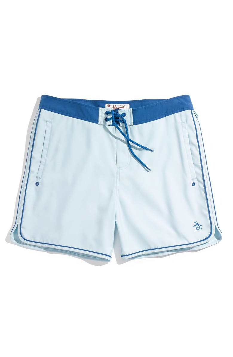 ORIGINAL PENGUIN Penguin 'Scalloped' Volley Swim Trunks, Main, color, 445