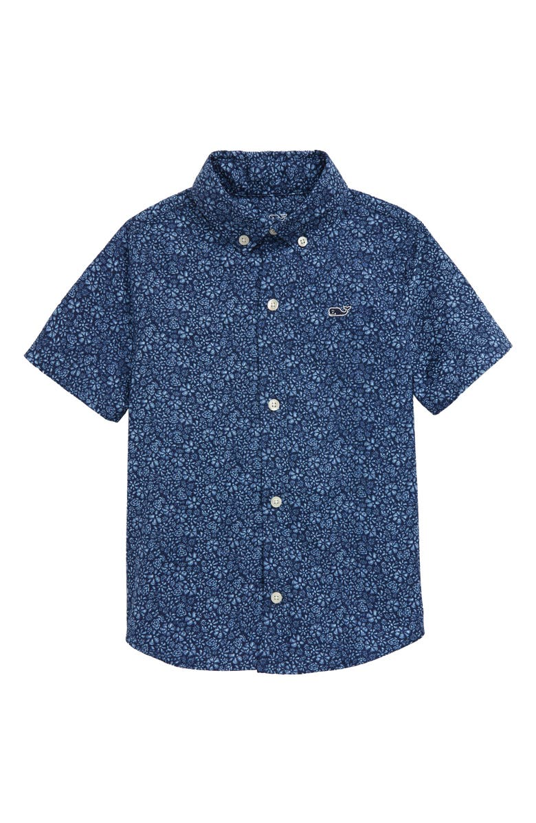 VINEYARD VINES Waterway Floral Short Sleeve Button-Down Shirt, Main, color, 400